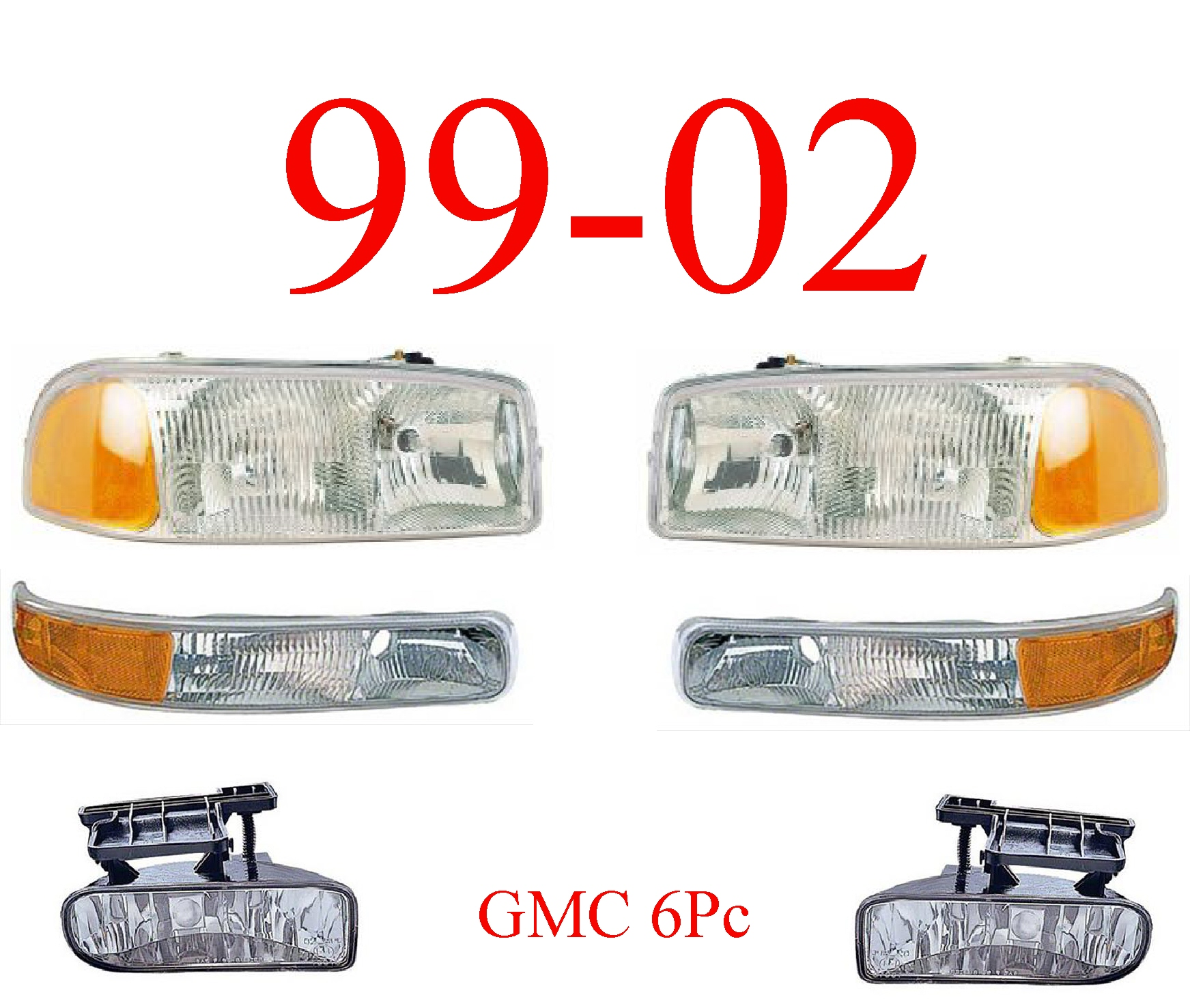 99-02 GMC Truck 6Pc Head, Park & Fog Light Set
