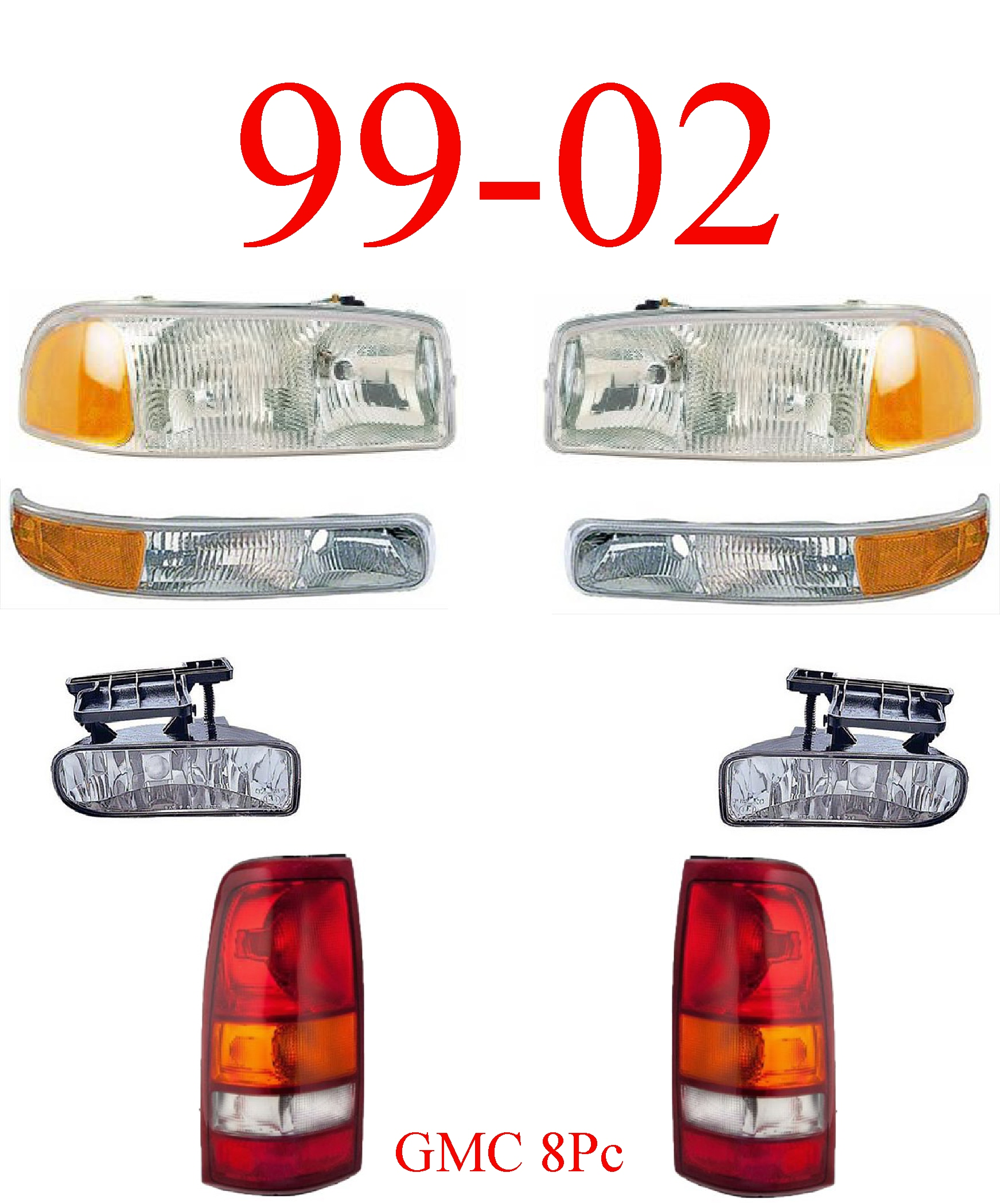 99-02 GMC Truck 8Pc Head, Park, Fog & Tail Light Set