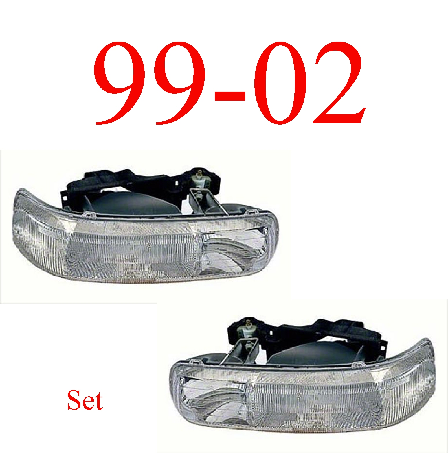 99-02 Chevy Head Light Set Assembly