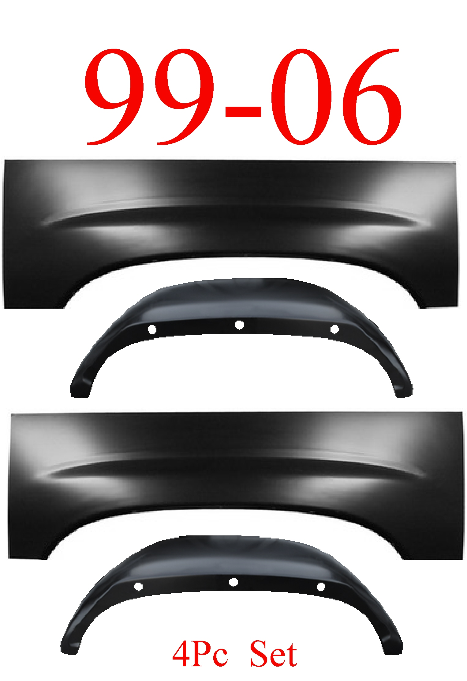 99-06 4Pc Chevy Upper Arch & Inner Arch Left & Right