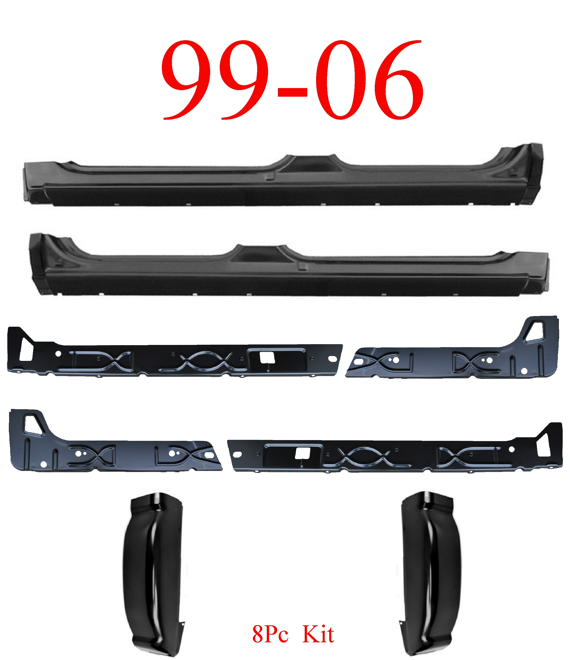 99-06 8Pc Extended Crew Cab Rockers, Inners & Cab Corners