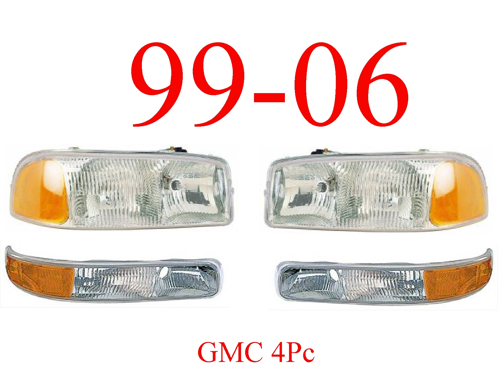 99-06 GMC Truck 4Pc Head & Park Light Set