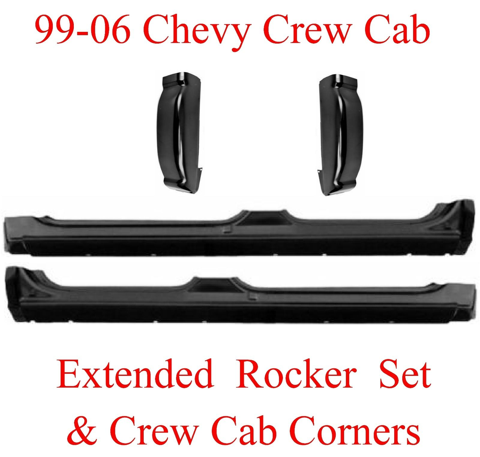 99-06 Chevy Crew Cab 4Pc Extended Rocker & Cab Corner Kit