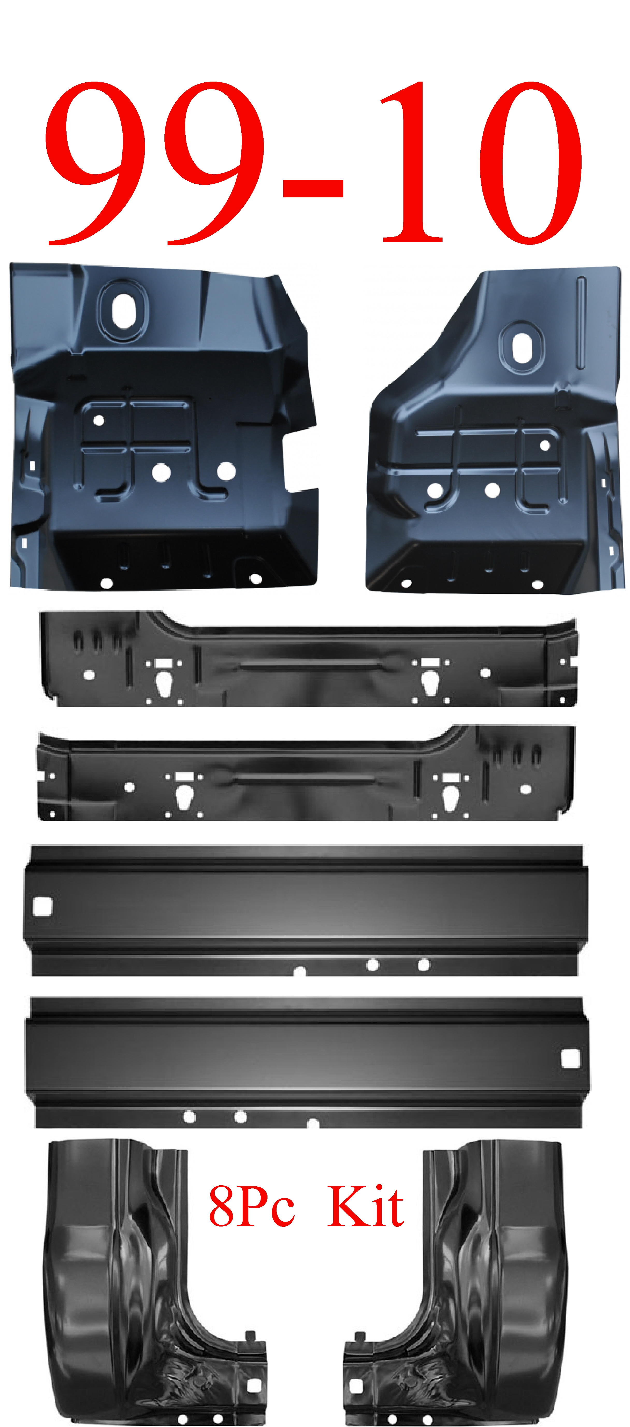 99-10 8Pc Super Duty Rocker Panel, Inner, Floor & Cab Corner Kit