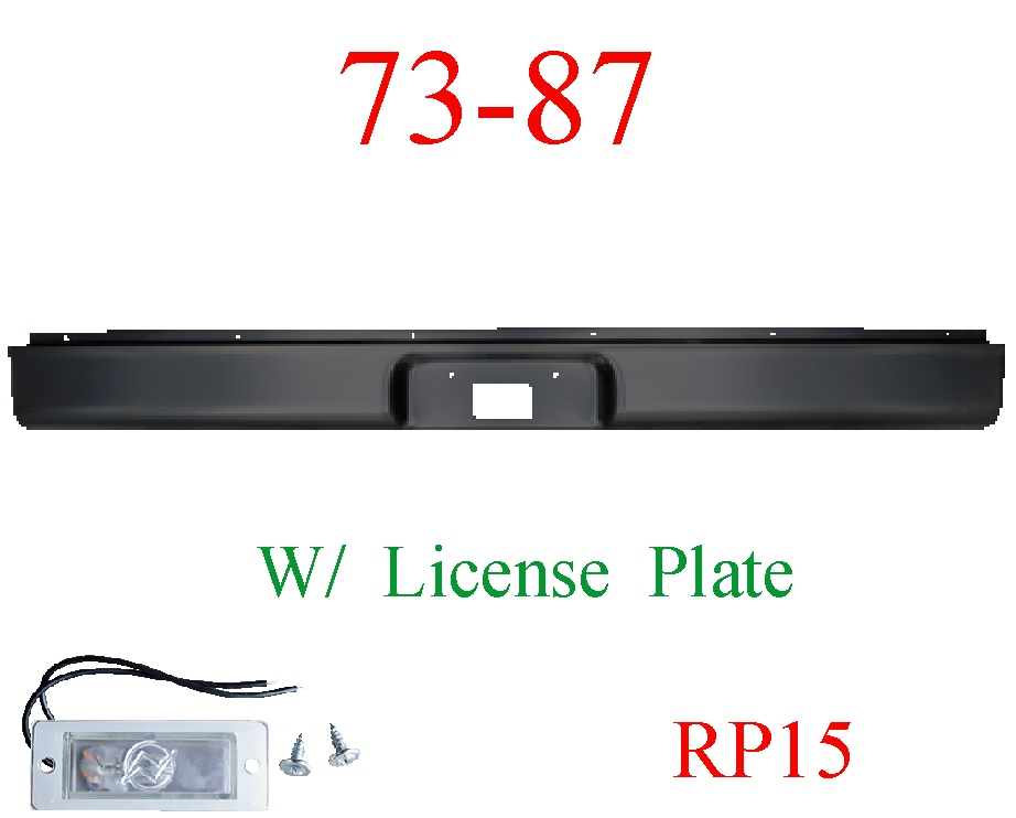 RP15 73-87 Chevy Rear Roll Pan With License Plate Light