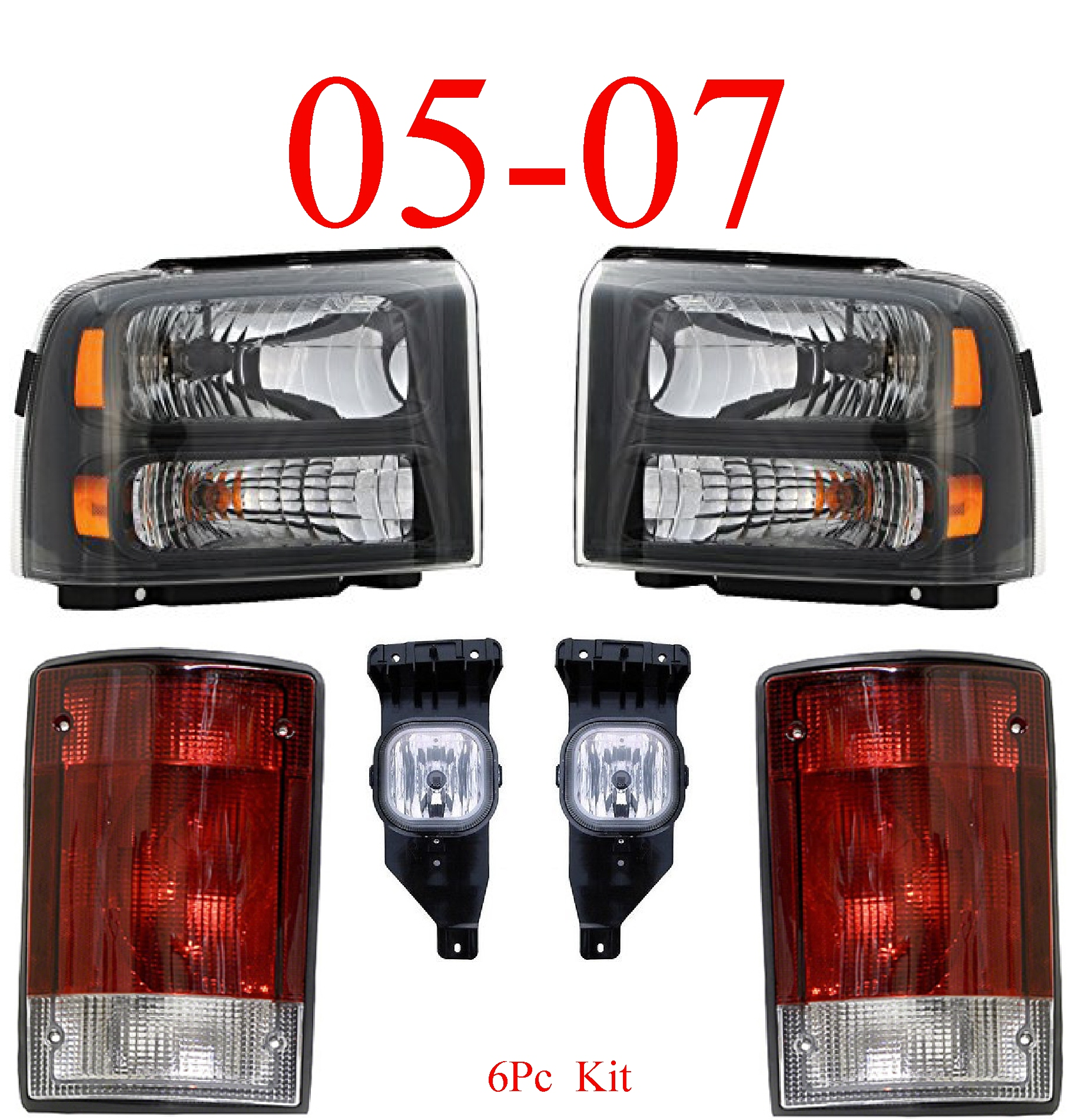 05 Ford Excursion 6Pc Head, Fog & Tail Light Kit Harley Davidson