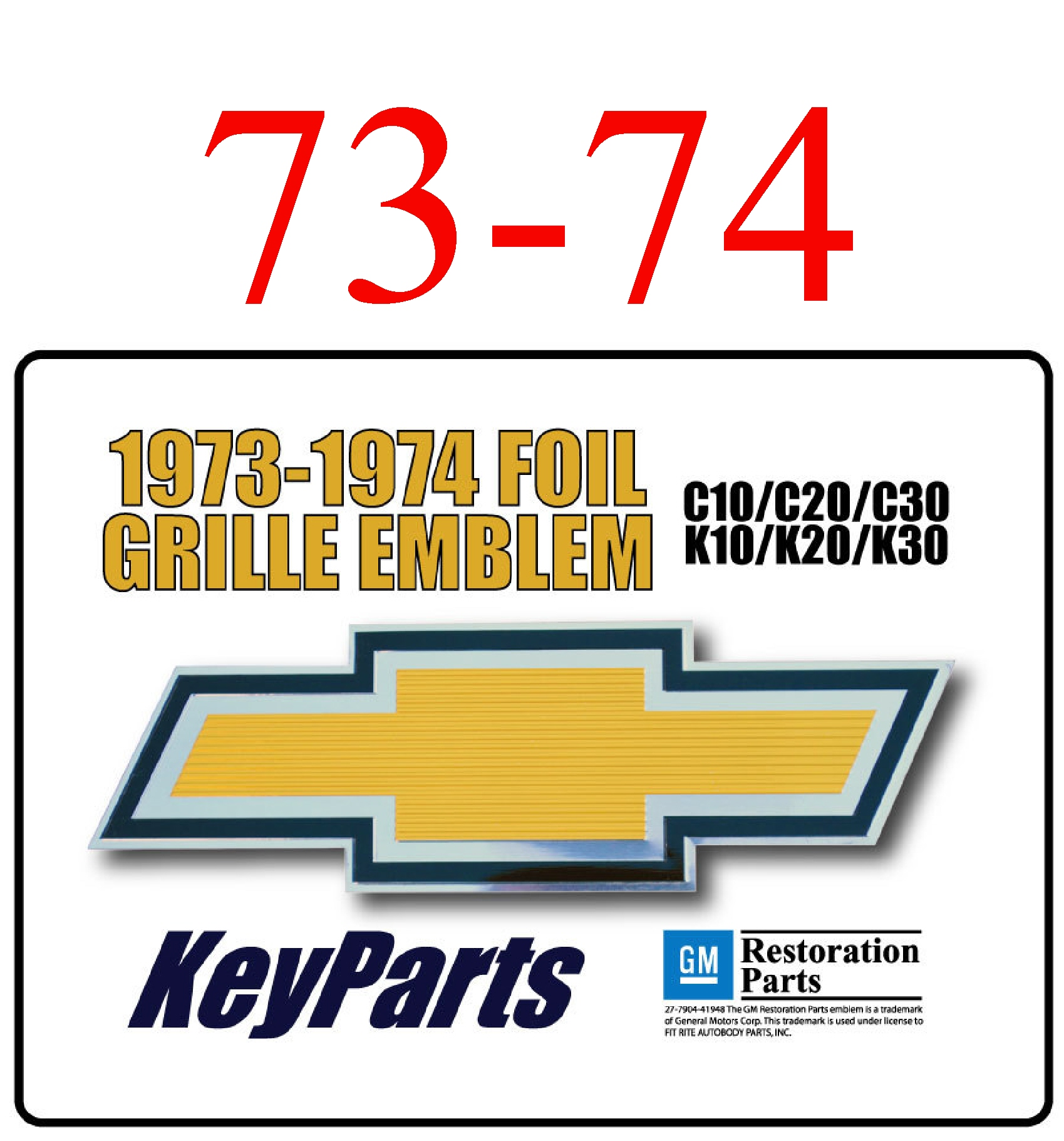 73-74 Chevy Truck Gold Foil Grill Emblem