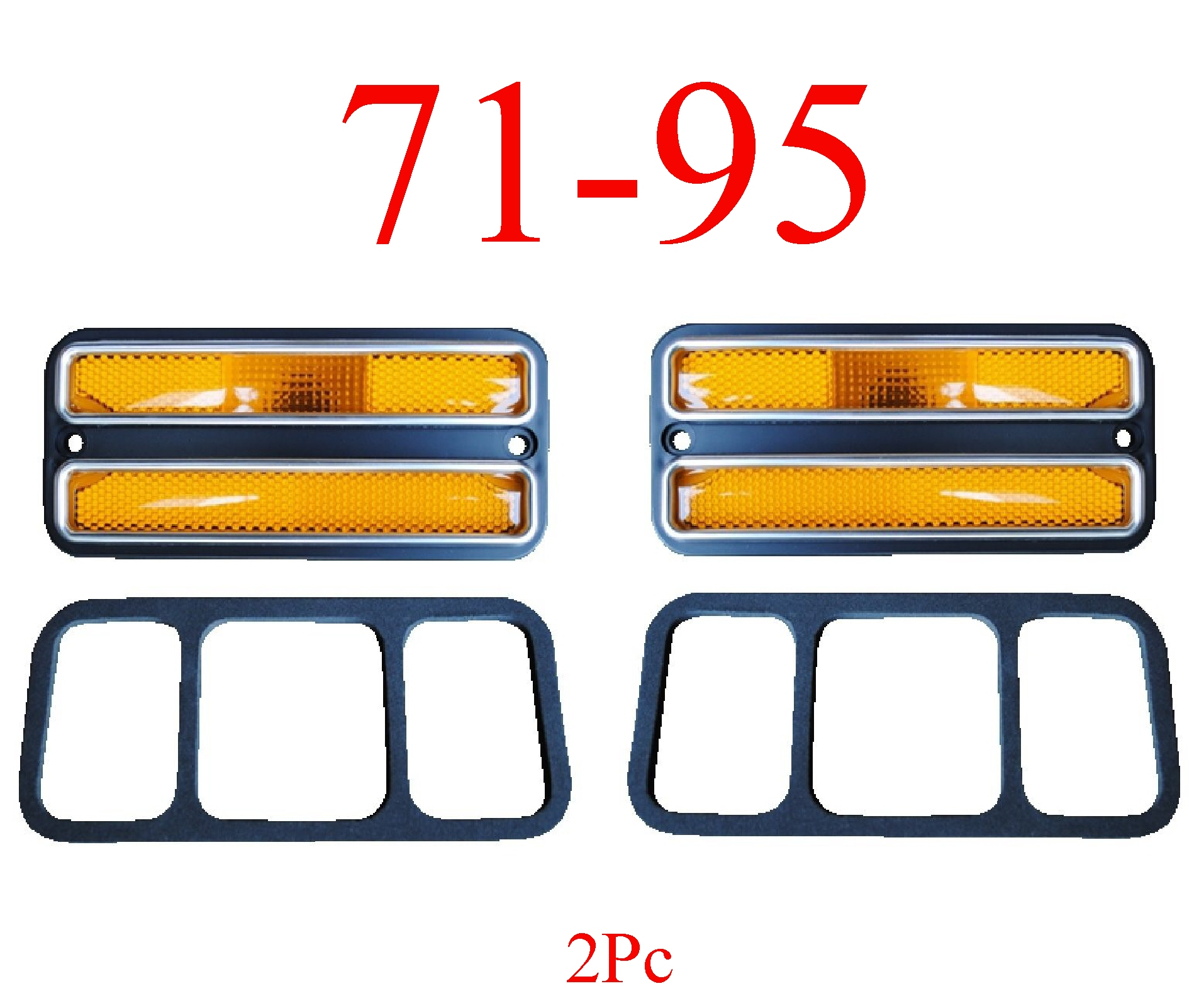 71-95 Chevy Van 2Pc Deluxe Amber Front Side Lights