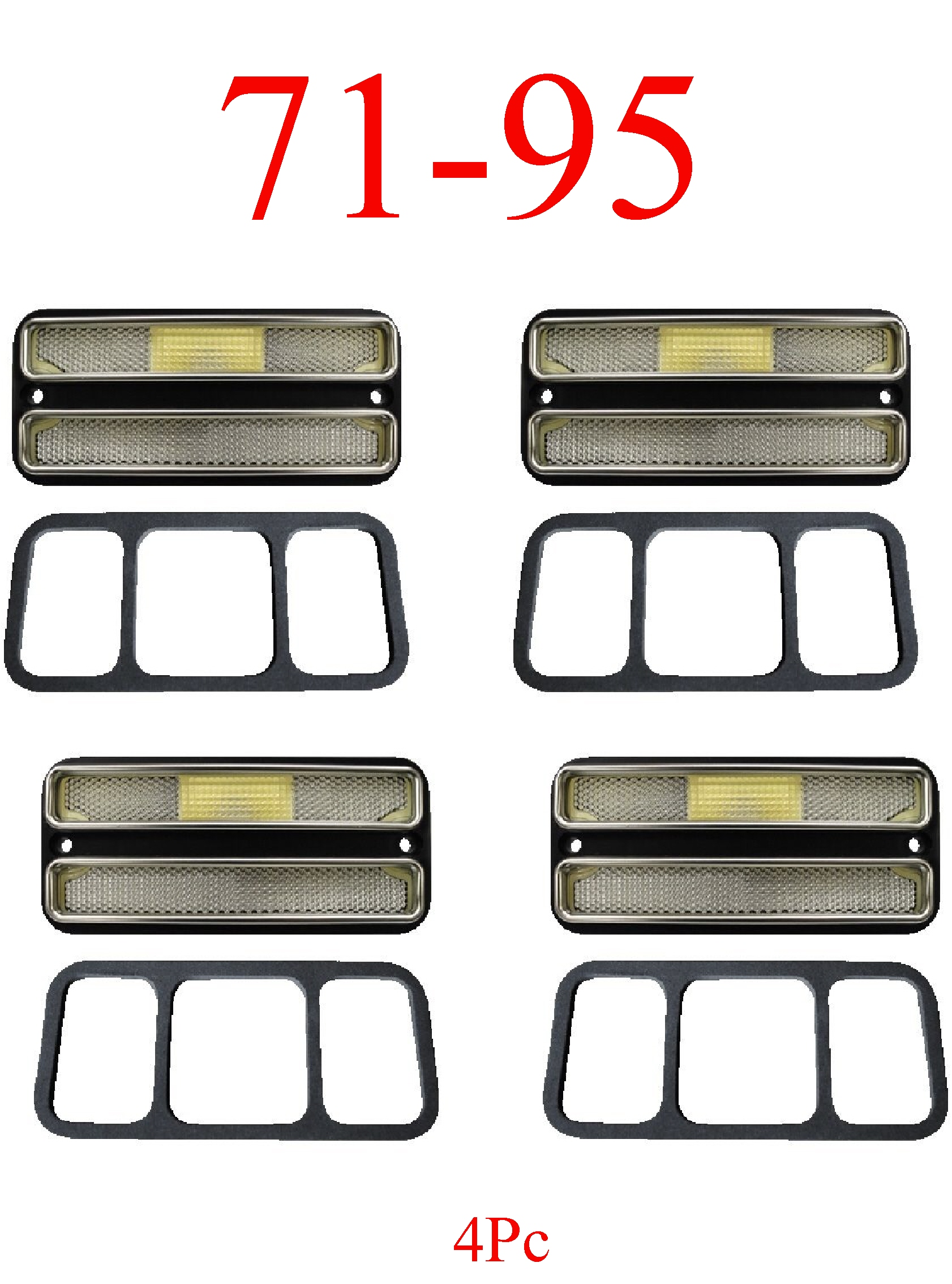 71-95 Chevy Van 4Pc Deluxe Clear Side Lights Front & Rear