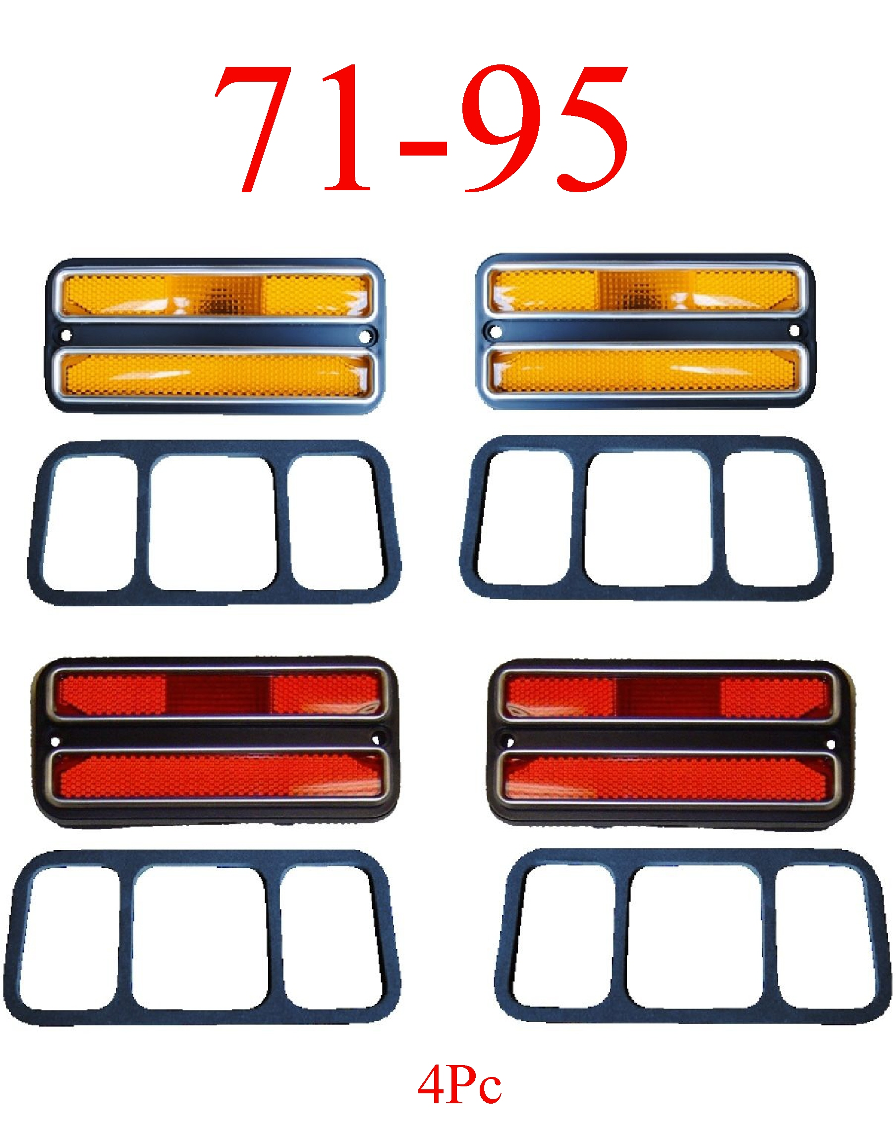 71-95 Chevy Van 4Pc Deluxe Amber & Red Side Lights