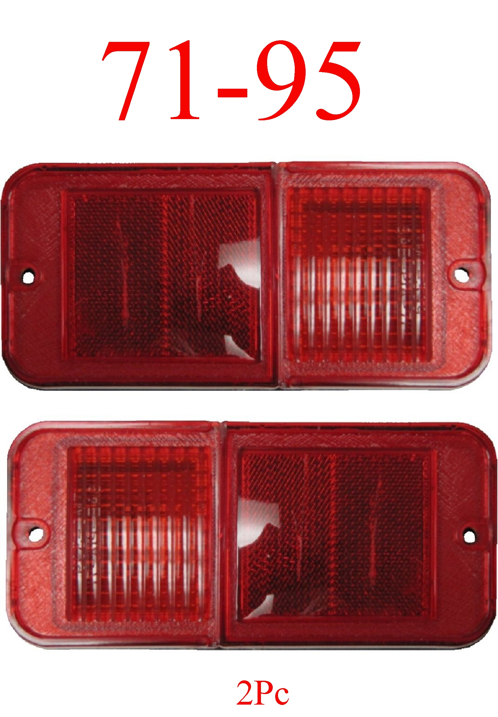 71-95 Chevy Van 2Pc Standard Red Rear Side Lights