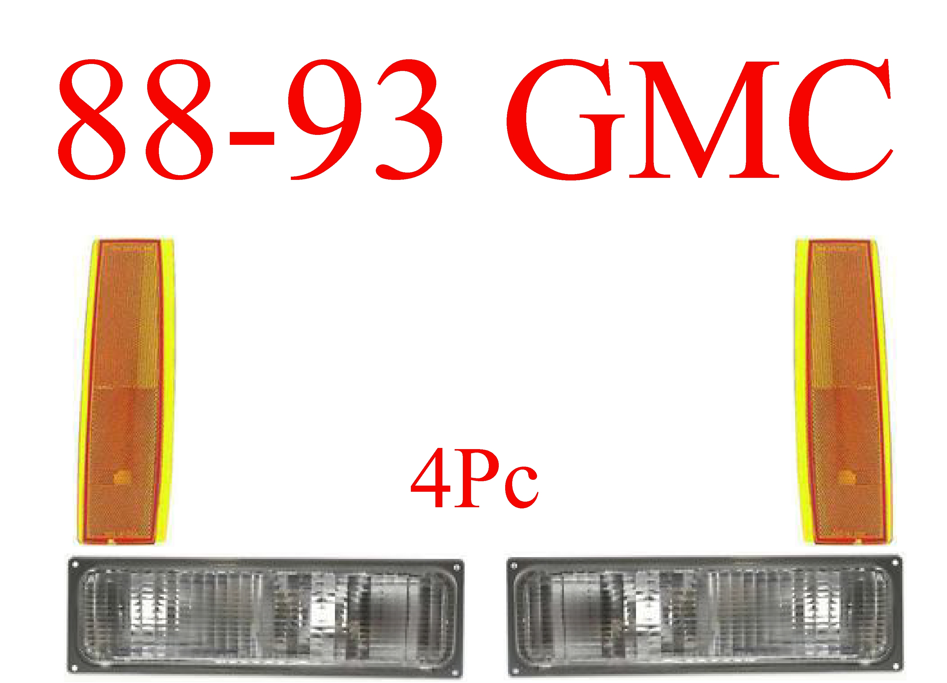 88-93 GMC 4Pc Parking & Side Amber Lights