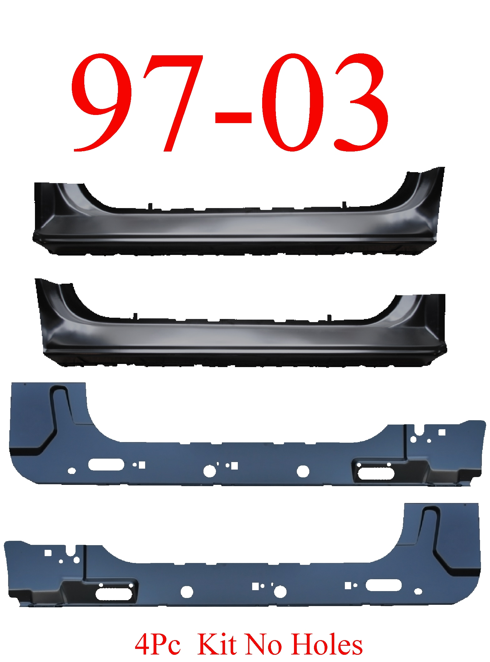 97-03 F150 4Pc Extended Rocker & Inner Rocker Kit No Holes